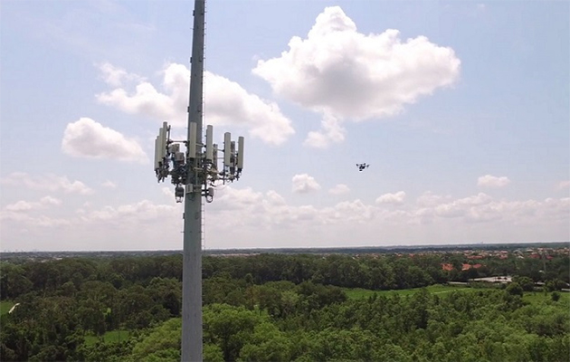 ATT uses drone on cellphone tower