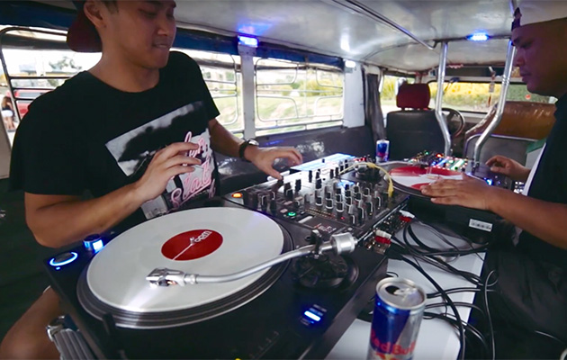 dj carlo atendido and hedspin in a jeepney bus