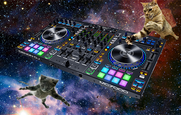 cats on denon mc7000 in space