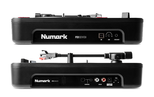 side view of awesome numark portable turntable