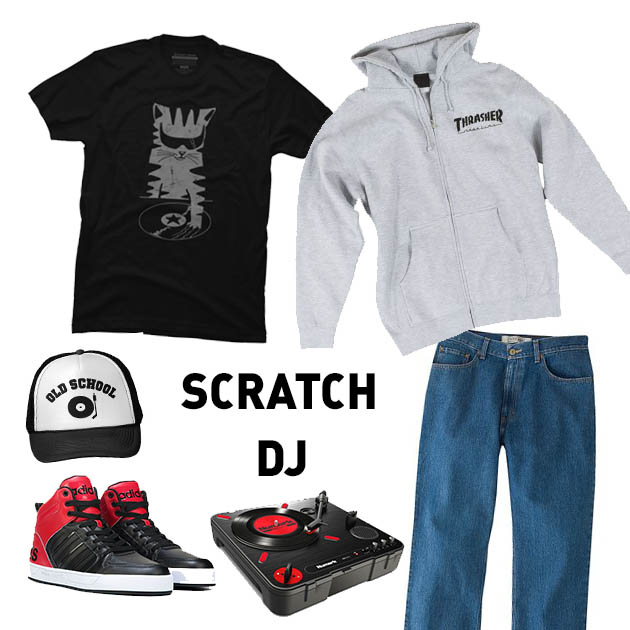 DesignByHumans DJ Scratch (The Remix) Men's T-Shirt by Gloopz $24, Zazzle Old School DJ Record Player Hat $18.95, Adidas Neo Raleigh 9TIS High Top Sneaker $79.99, Numark PT101 Scratch Portable Turntable with DJ Scratch Switch $99, Thrasher Magazine Logo Zip Hood in Gray $49.95, Kohl's Men's Urban Pipeline Relaxed-Fit Jeans $36.